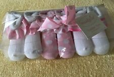 Mud Pie Baby Girl New Pink White Sock Set Lot Of 3 Sz 12-24 Months