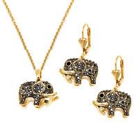 Sevil 18K Gold Plated Crystal Elephant Jewelry Set (Earrings & Pendant)