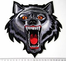 EXTRA LARGE WOLF DESIGN BIKER PATCH BADGE SEW ON OR IRON XXL SIZE AMAZING