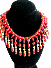FABULOUS Miriam Haskell DRIPPING Ruby Red Glass & Baroque Pearl Collar Necklace