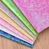 A4 Plaid Grid Holographic Fabric Synthetic Leather For Bows Bag DIY Craft DIY