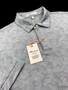Peter Millar Crown Sport Geometric Camo Performance Print Polo Gray Size Medium