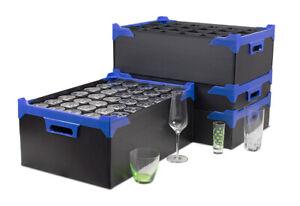 Glassware Storage Boxes Totes Crates Glassjacks - Black - Various Sizes