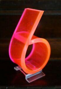 "Vintage Mid Century 1950's Retro Neon Orange Pink Fiber Optic Number Six 6 - 3"""