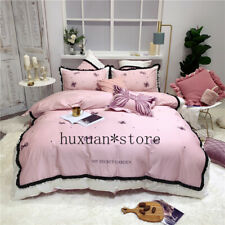 Luxury Egypt Cotton Secret Garden Bedding Set Embroidery Ruffles Duvet Cover Set