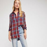 Free People Magical Plaid Top Women's Casual Buttondown Shirt Blouse M NEW 16487