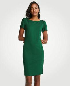 Ann Taylor - Woman's Size 8 Green Puff Sleeve Ponte Sheath Dress (U88)
