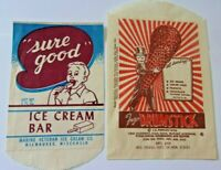Vintage waxed paper ice cream wrappers, mid century 'sure good' drumsticks bars!