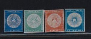 ***REPLICA*** of Uruguay 1856 - 57 , El sol de Mayo - first 4 stamps of Uruguay