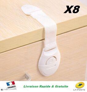 X 8 Bloque Placard Porte Tiroir Sécurité Bébé Protège Enfant Loquet Verrou 8 pcs