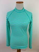 J. CREW blue polka dot zip back RASH GUARD UV shirt Women's M