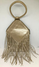 Hobo Goldish Tan Metallic Leather Fringes Fancy Evening Bag Purse Size Medium