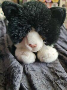 """Keel Toys Smudge Black & White Cat With Orange Eyes Soft Plush Toy Larger 12"""""""