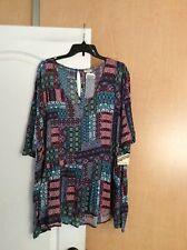 New Eyeshadow - Multi color Mix Printed  floral woman top Plus Size 2X