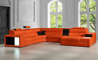 Contemporary Look Living Room Large Sectional Orange Bonded Leather Sofa Set GVC