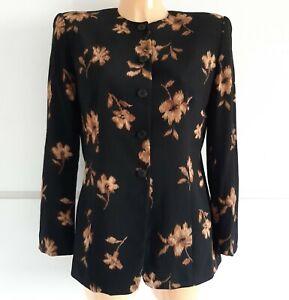 Jones New York 100% Silk Black Floral Jacket UK Size 10 Formal Occasion Funeral