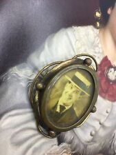 With Old Picture Double Sided Gorgeous Antique Victorian Pinchbeck Brooch