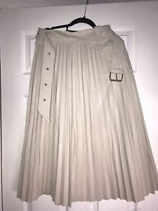 River Island cream leather effect pleated skirt with belt, size 10