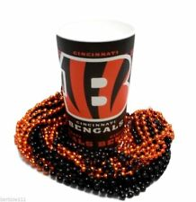Cincinnati Bengals 22 oz Cup 12 Mardi Gras Beads Orange Black Tailgate Favors