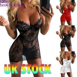 Sexy Lingerie Women See-through Lace Babydoll Sleepwear Nightgown Dress Set UK