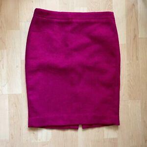 J Crew Wool Blend Fuschia Pencil Skirt Size 6