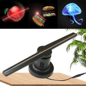 LED 3D Hologramm Projektor Fan Holographische Display Player Werbung+SD EU Plug