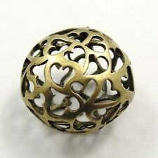 25*25*18mm Antique style bronze tone heart hollow ball jewelry findings 4pcs