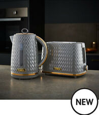 Tower Empire Kettle and Toaster 2-Slice Textured Set Grey