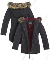 NEW Womens Oversized Hood Pink Fur Parka Coat Ladies Black Jacket Size 8 to 16