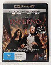 INFERNO 4K ULTRA HD + BLU-RAY oz seller Tom Hanks Felicity Jones 4K UHD HDR DVD