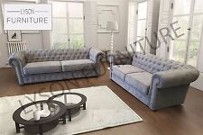 New Sofa Set IMPERIAL - CHESTERFIELD 3 Seater or 2 Seater Sofa Bed Fabric Grey