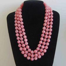 8mm/10mm faceted pink Morganite gemstone bead necklace 18/24/36/48Inch