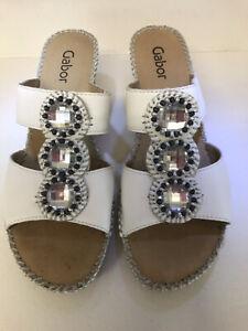 Gabor White Leather Cork Wedges Mules Sandals Uk6