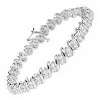 Created White Sapphire Double-Row Tennis Bracelet in Sterling Silver