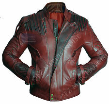 Guardians of The Galaxy 2 Star Lord Chris Pratt Maroon Real Leather Jacket M Synthetic Leather