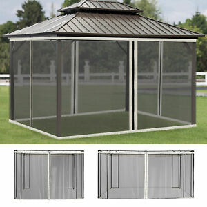 Outsunny Gazebo Replacement Mosquito Netting Screen Walls Black Solid