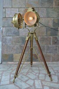 HOLLYWOOD ANTIQUE SEARCHLIGHT SPOT LIGHT FLOOR LAMP FULL ANTIQUE FINISHING LAMP