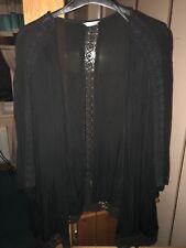Precioso M&CO Negro Chaqueta Kimono Top con detalle de ganchillo Talla 26/28