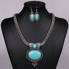 Women Green Oval Turquoise Pendant Silver Tone Retro Chunky Necklace  EarringSet