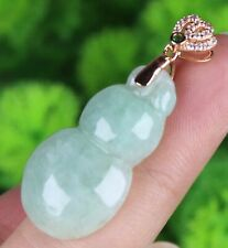 Certified Green Natural A Jade jadeite gourd pendant 925 Silver buckle 18343a
