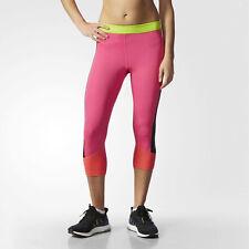 adidas Women's Techfit Capri 3/4 Length Gym Tights 50+ UPF UV Compression Pink