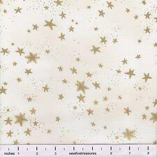 Laurel Burch Enchantment Christmas STARS CREAM Metallic Fabric By the FQ 1/4 YD