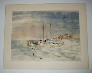 Original Watercolor by Dorothy Brych, Nautical SEASCAPE, Wisconsin Listed Artist