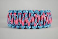 550 Paracord Survival Bracelet King Cobra Carolina Blue/Pink/Cotton Candy