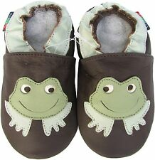 shoeszoo  frog dark brown 12-18m S  soft sole leather baby shoes