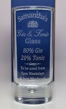 Personalised GIN & TONIC % Highball Glass Gift For Christmas/Him/Her/Men/Ladies
