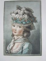 Antique Old French Print   of a Young Lady Women after Philibert Louis Debucourt