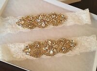 Wedding garter, Bridal Garter Set - GOLD CRYSTAL Wedding Garter Set