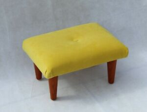 Small Velvet Buttoned Footstool - Fabric Foot Rest - Daffodil Yellow Stool
