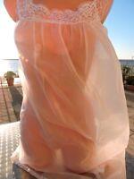 Völlig transparent Perlon Babydoll Negligee Vintage rosa ein Hauch in L Nylon